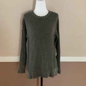 Olive Green Volcom Cable Knit Sweater Size Small